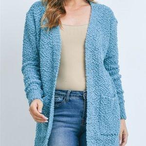 Beautiful  SOFT Popcorn Sweater Cardigan NWT